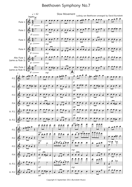 Beethoven Symphony No.7 (slow movement) for Flute Quartet