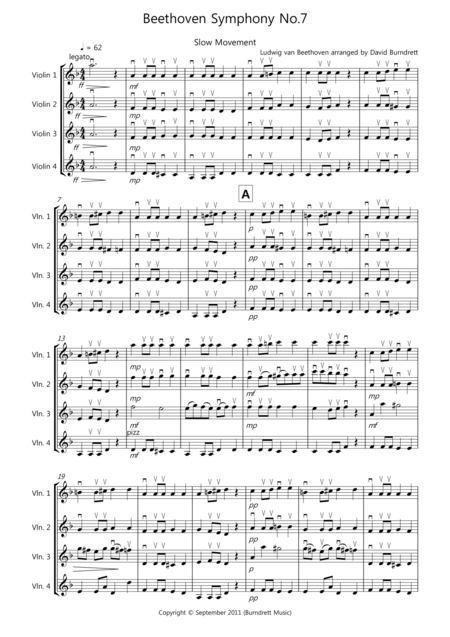 Beethoven Symphony No.7 (slow movement) for Violin Quartet