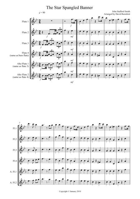 Banjo banjo tabs star spangled banner : The Star Spangled Banner For Flute Quartet