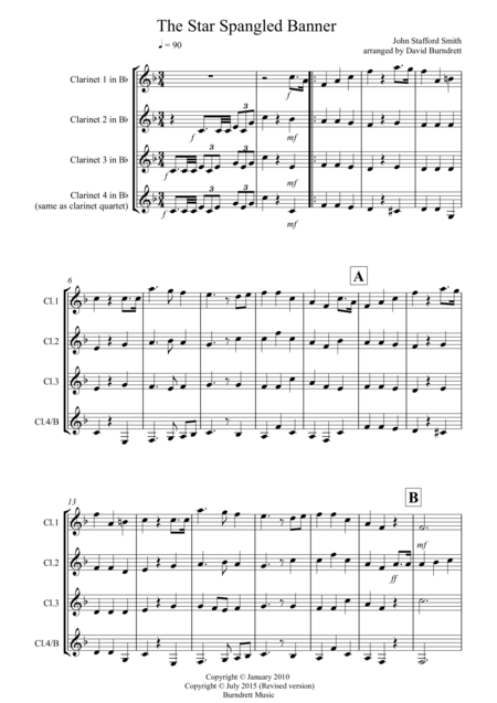 The Star Spangled Banner for Clarinet Quartet