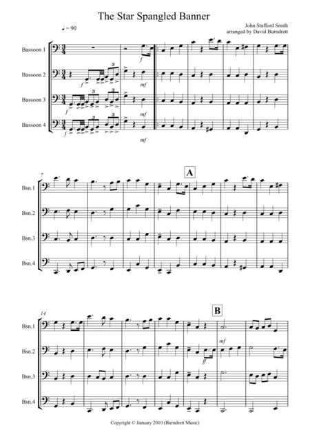 The Star Spangled Banner for Bassoon Quartet