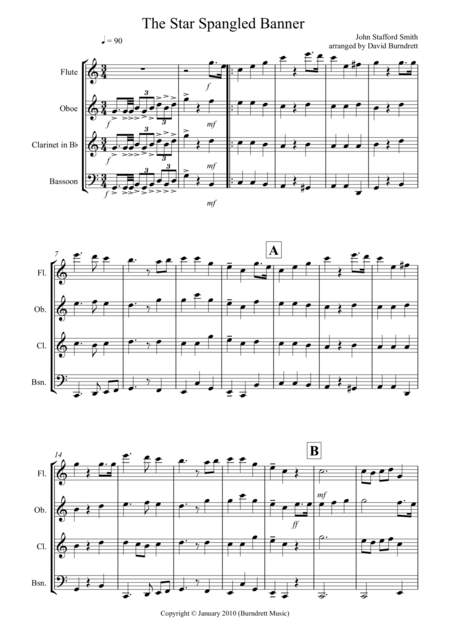 The Star Spangled Banner for Wind Quartet