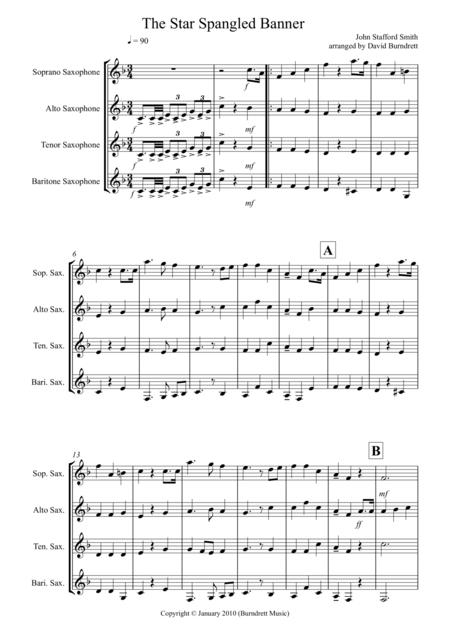 The Star Spangled Banner for Saxophone Quartet