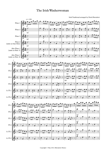 The Irish Washerwoman for Flute Quartet
