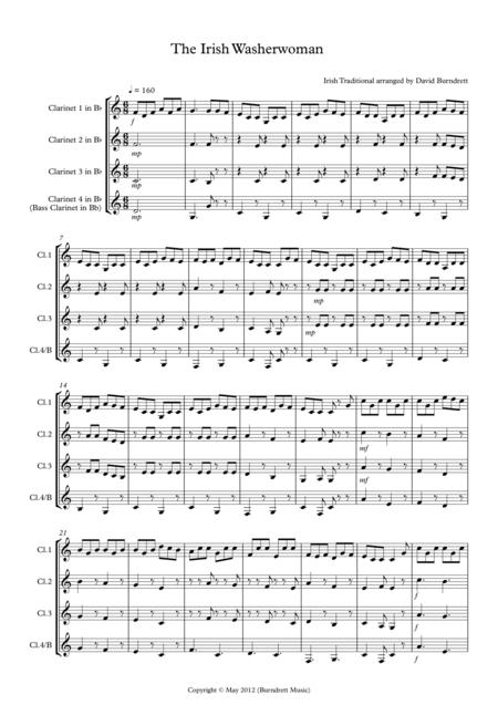 The Irish Washerwoman for Clarinet Quartet