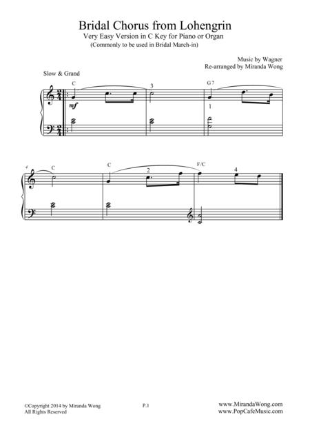 Bridal Chorus - Very Easy Piano Version in C Key (Bridal March)