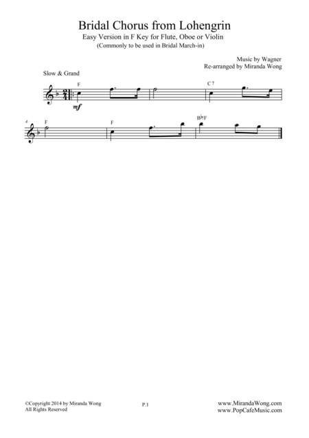 Bridal Chorus (Bridal March) - Easy Version for Flute, Oboe or Violin Solo