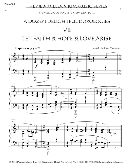 Delightful Doxology VII - 'Let Faith & Hope & Love Arise' - Piano (F)