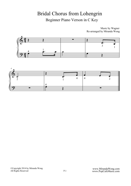 Bridal Chorus (from Lohengrin) - Beginner Piano Version in C Key