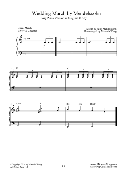 Wedding March By Mendelssohn Easy Piano Version With Chords