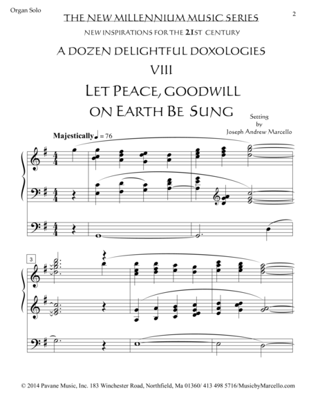 Delightful Doxology VIII - Let Peace, Goodwill on Earth Be Sung - Organ (G)