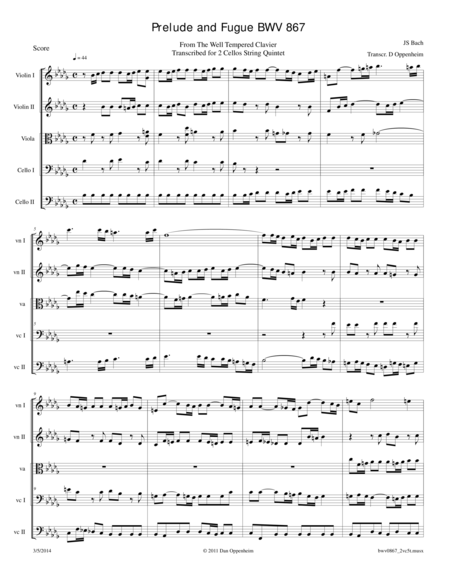 Bach: Prelude and Fugue BWV 867 transcribed for 2 Cellos String Quintet
