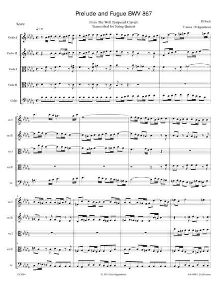 Bach: Prelude and Fugue BWV 867 transcribed for 2 Violas String Quintet