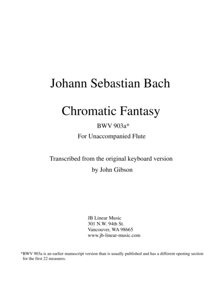 J. S. Bach Chromatic Fantasy set for solo (unaccompanied) Flute