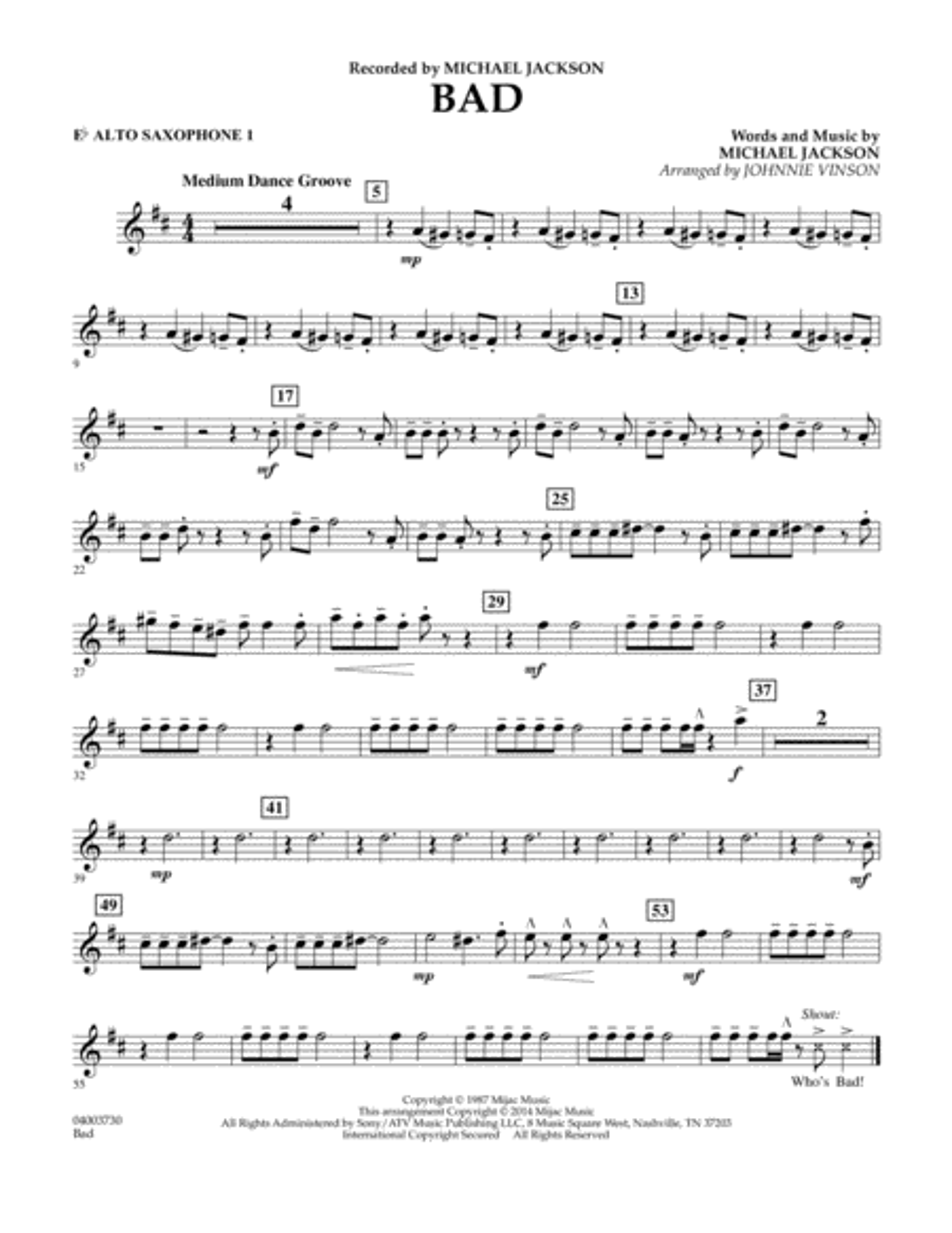 Bad - Eb Alto Saxophone 1