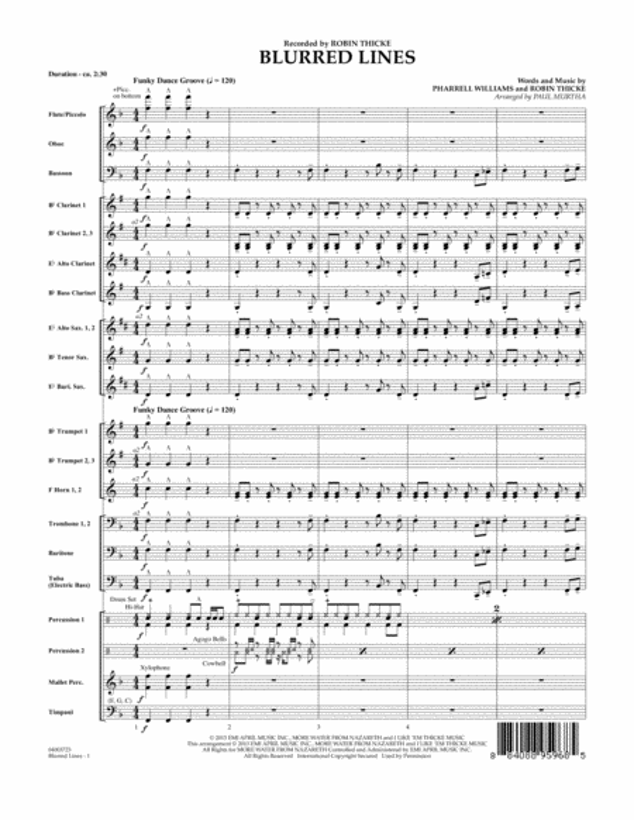 Blurred Lines - Conductor Score (Full Score)