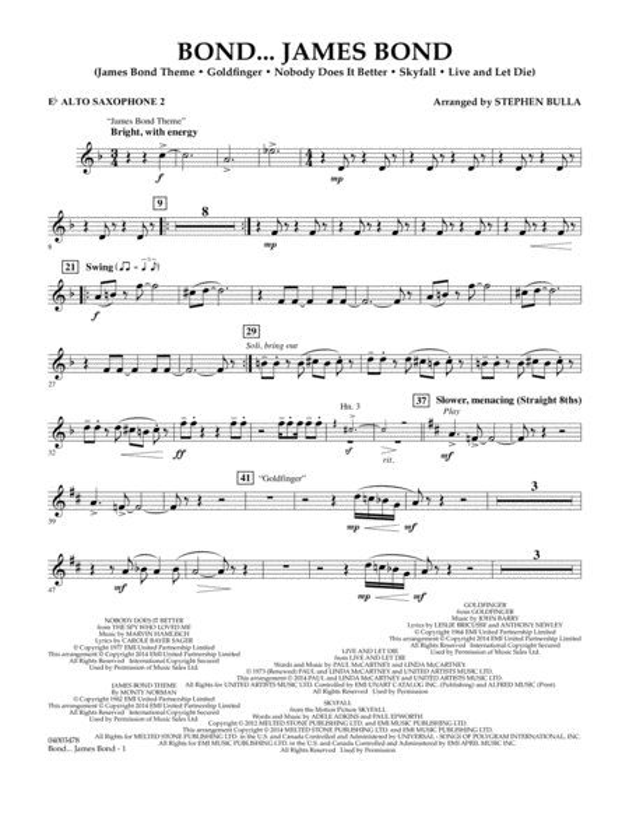 Bond... James Bond - Eb Alto Saxophone 2