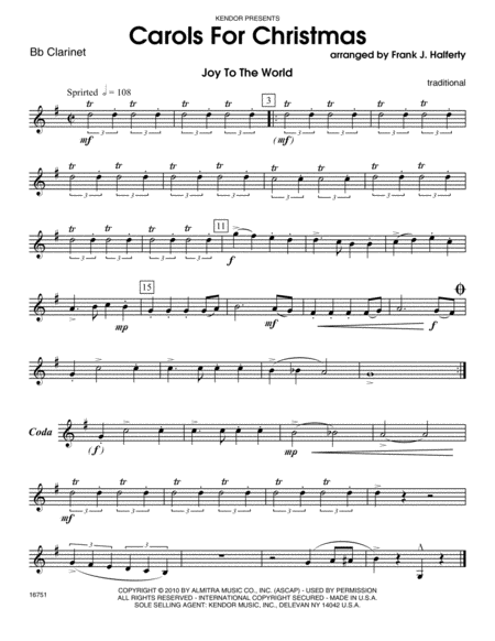 Carols for Christmas - Clarinet