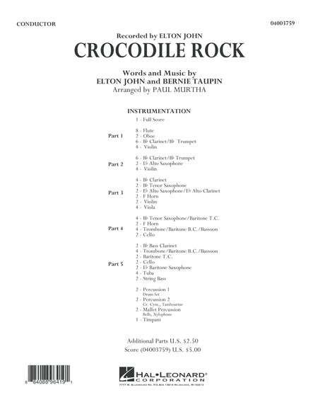 Crocodile Rock - Conductor Score (Full Score)