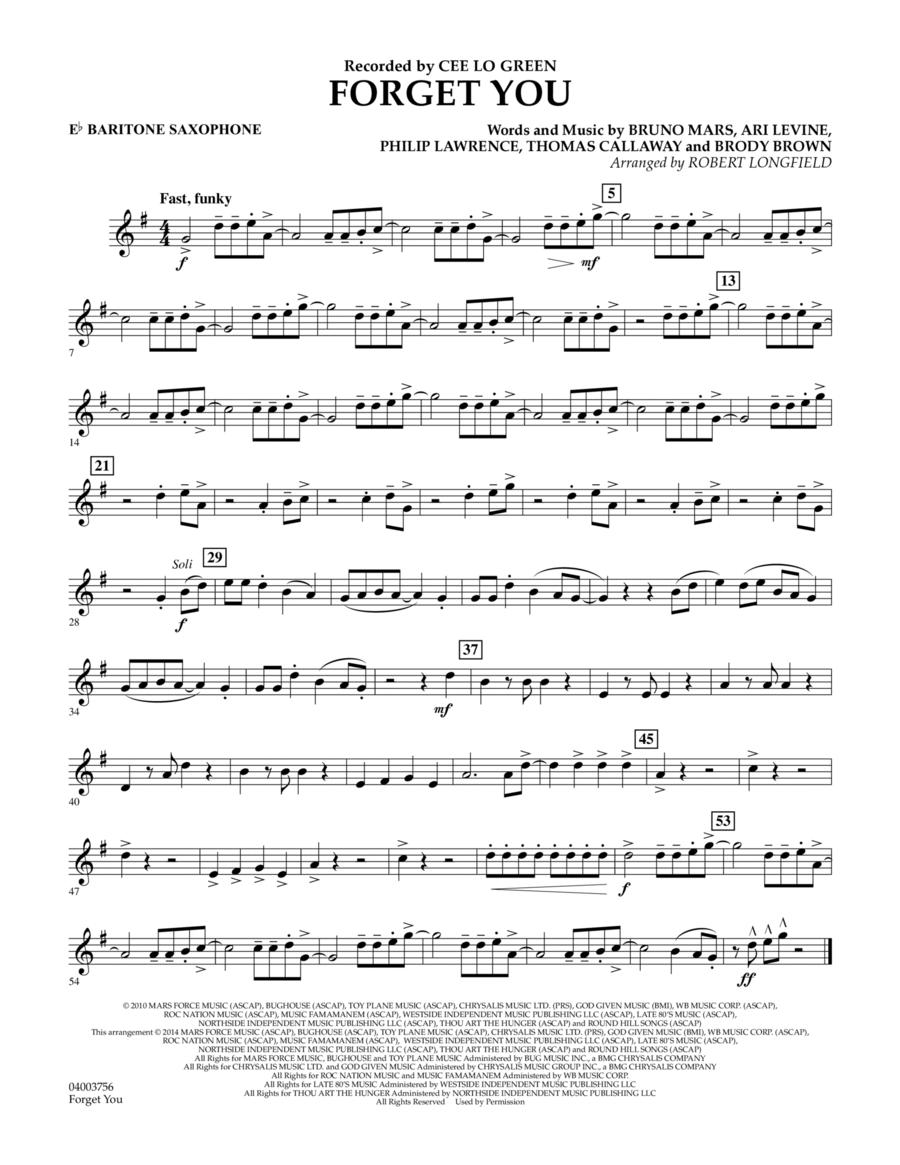Forget You - Eb Baritone Saxophone