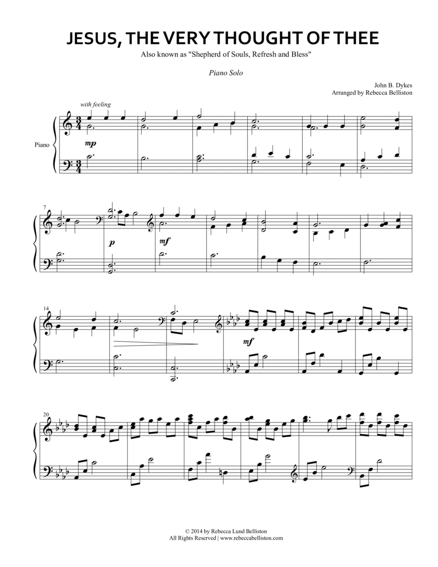 Jesus, the Very Thought of Thee (Piano Solo)