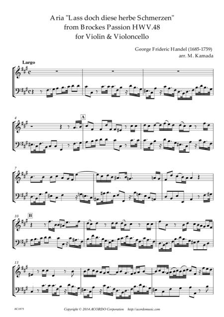 'Lass doch diese herbe Schmerzen' from Brockes Passion HWV.48 for Violin & Violoncello