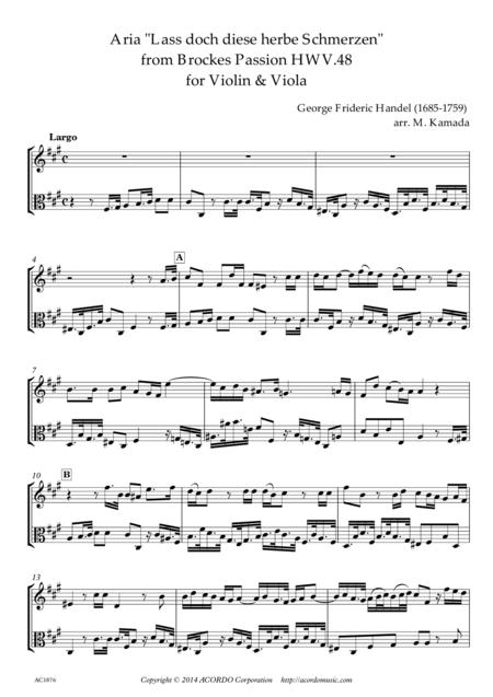 'Lass doch diese herbe Schmerzen' from Brockes Passion HWV.48 for Violin & Viola
