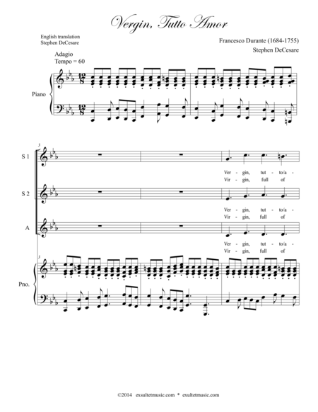 Vergin, Tutto Amor (for SSA Voicing)