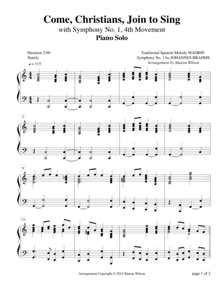 Come, Christians, Join to Sing Medley (Piano Solo)