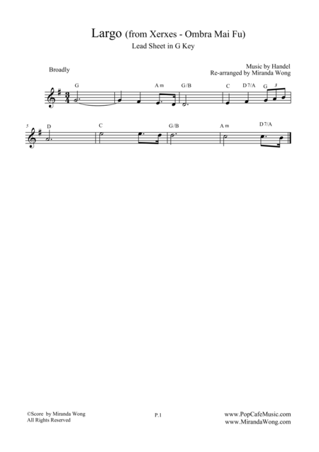 Largo from Xerxes - Lead Sheet in G Key (Violin or Flute Solo)