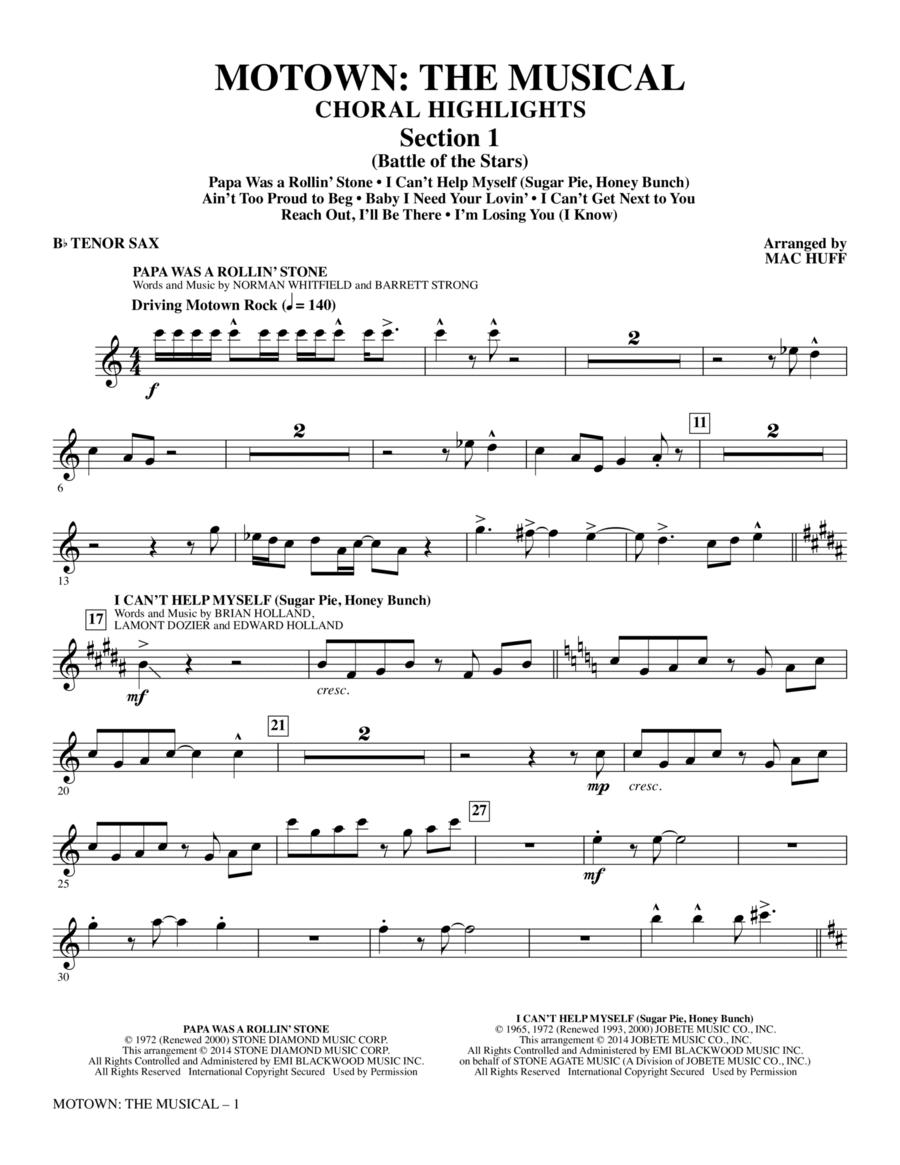 Motown: The Musical (Choral Highlights) - Tenor Sax