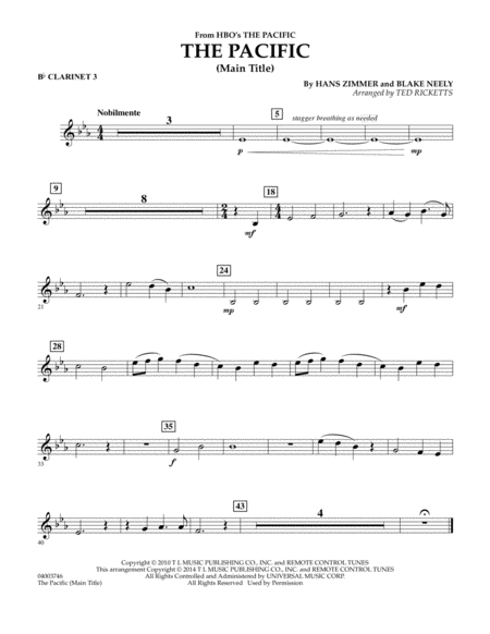The Pacific (Main Title) - Bb Clarinet 3