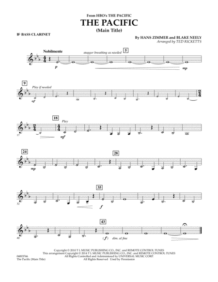 The Pacific (Main Title) - Bb Bass Clarinet