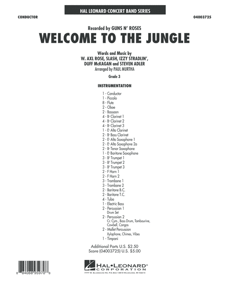 Welcome to the Jungle - Conductor Score (Full Score)