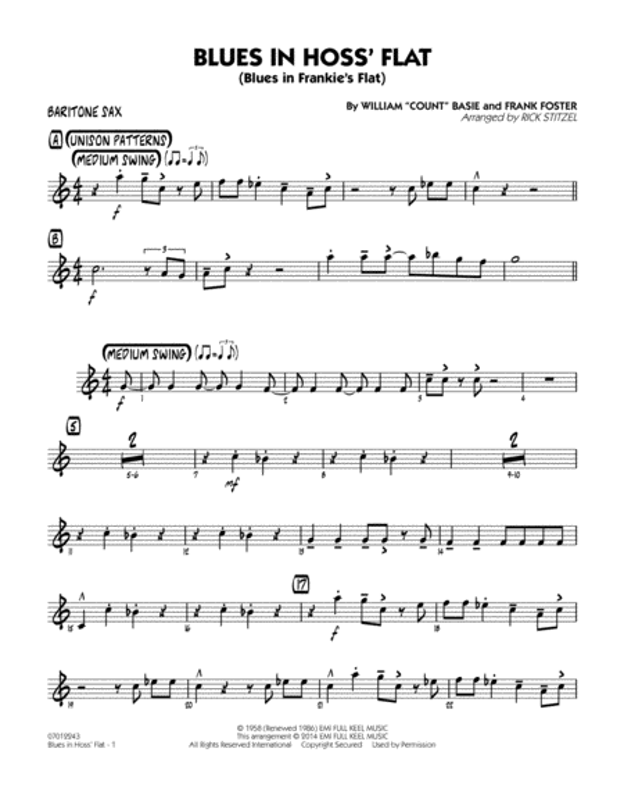 Blues in Hoss' Flat (Blues in Frankie's Flat) - Baritone Sax