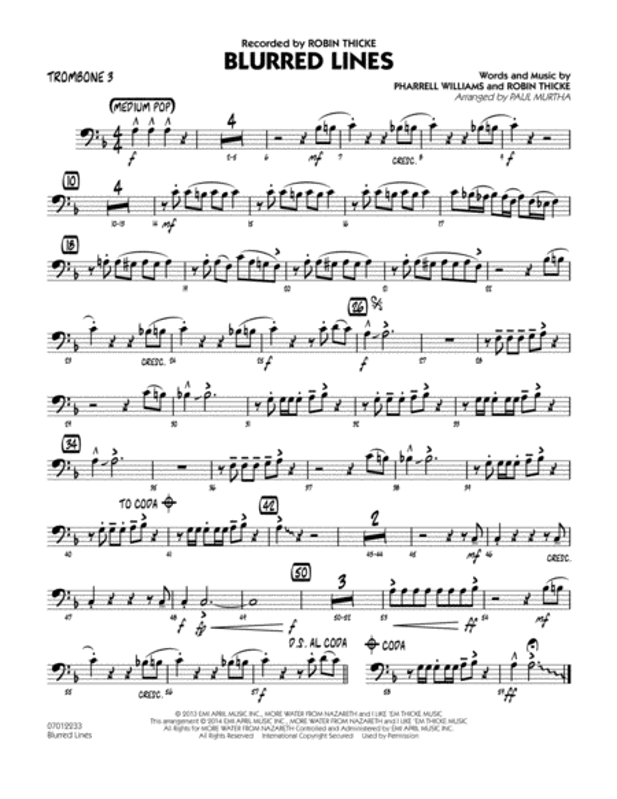 Blurred Lines - Trombone 3