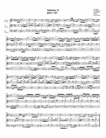 Sinfonia (Three part invention) no.11, BWV 797