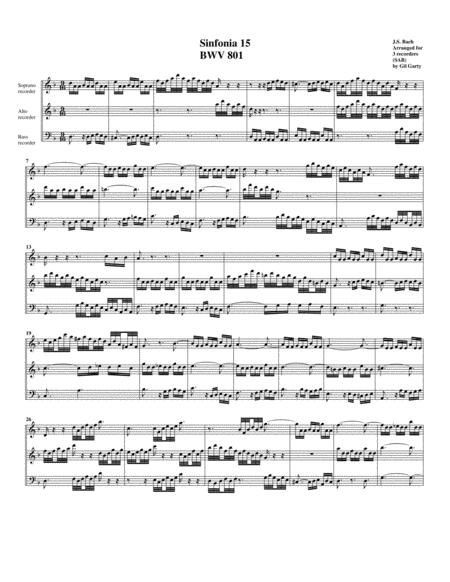 Sinfonia (Three part invention) no.15, BWV 801