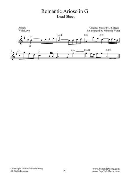 Romantic Arioso in G - Lead Sheet