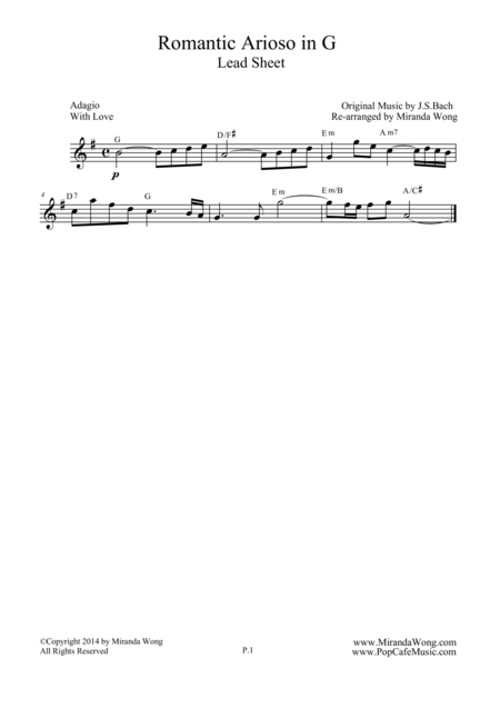 Romantic Arioso in G - Flute Solo (With Chords)