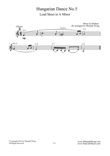 Hungarian Dance No.5 in A Minor - Lead Sheet