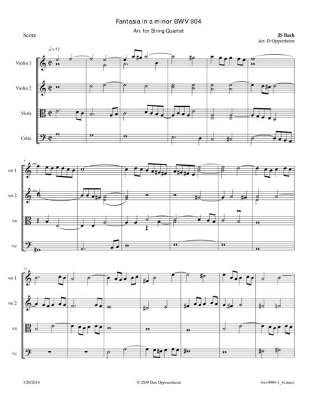 Fantasia in a minor BWV 904 Arr. for String Quartet