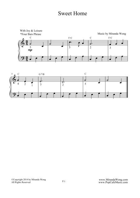 Sweet Home - Easy Piano Solo in C Key
