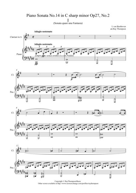 Beethoven: Piano Sonata No 14 in C sharp minor Op 27 No.2 (Moonlight Sonata) Mvt.1 - Clarinet and Piano