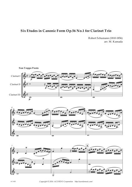 Six Etudes in Canonic Form Op.56 No.1 for Clarinet Trio