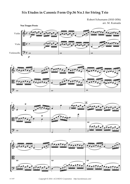Six Etudes in Canonic Form Op.56 No.1 for String Trio