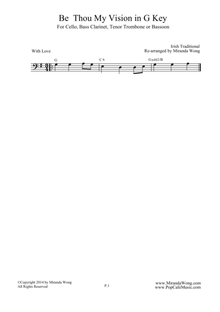Be Thou My Vision - Cello Solo in G Key (Romantic Version)