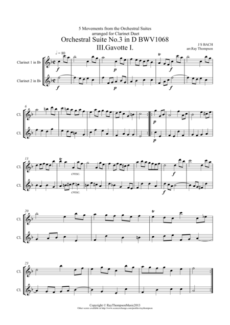 5 Movements from Orchestral Suites 2 & 3 arranged clarinet duet