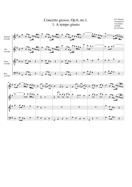 Concerto grosso, Op.6, no.1 (arrangement for 4 recorders)