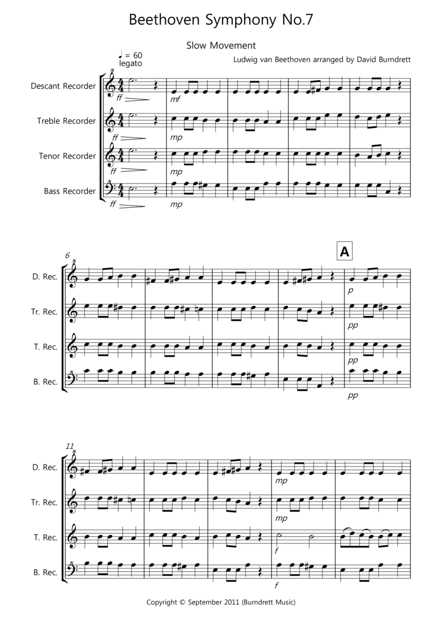 Beethoven Symphony No.7 (slow movement) for Recorder Quartet